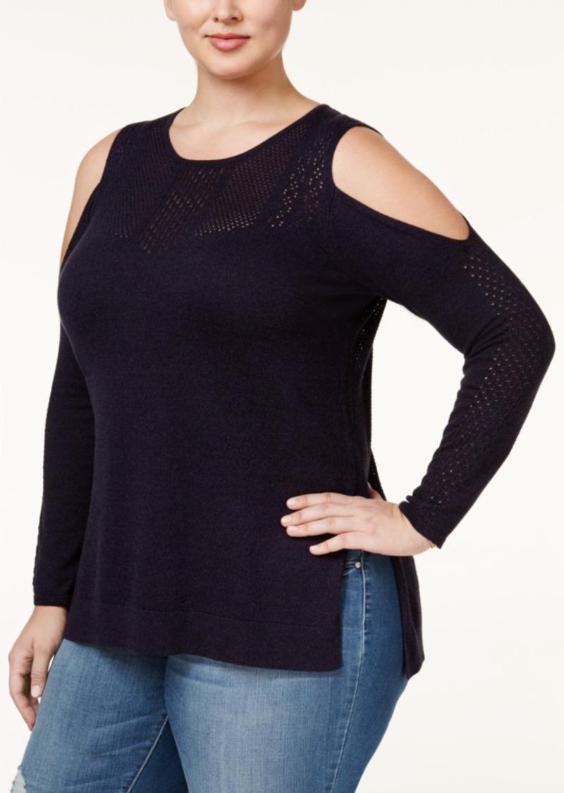 65d3332c1d3 Jessica Simpson Jessica Simpson Trendy Plus Size Cold-Shoulder Sweater