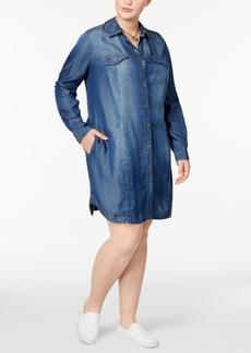Jessica Simpson Trendy Plus Size Cotton Denim Shirtdress