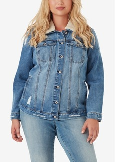 Jessica Simpson Trendy Plus Size Cotton Reagan Denim Jacket With Faux-Sherpa Collar