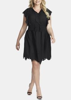 Jessica Simpson Trendy Plus Size Cotton Tummy-Control Schiffli Dress