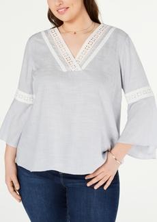 Jessica Simpson Trendy Plus Size Crochet-Trim Peasant Top
