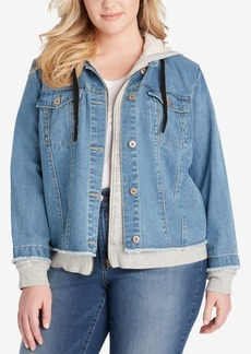 Jessica Simpson Trendy Plus Size Denim Hoodie Jacket