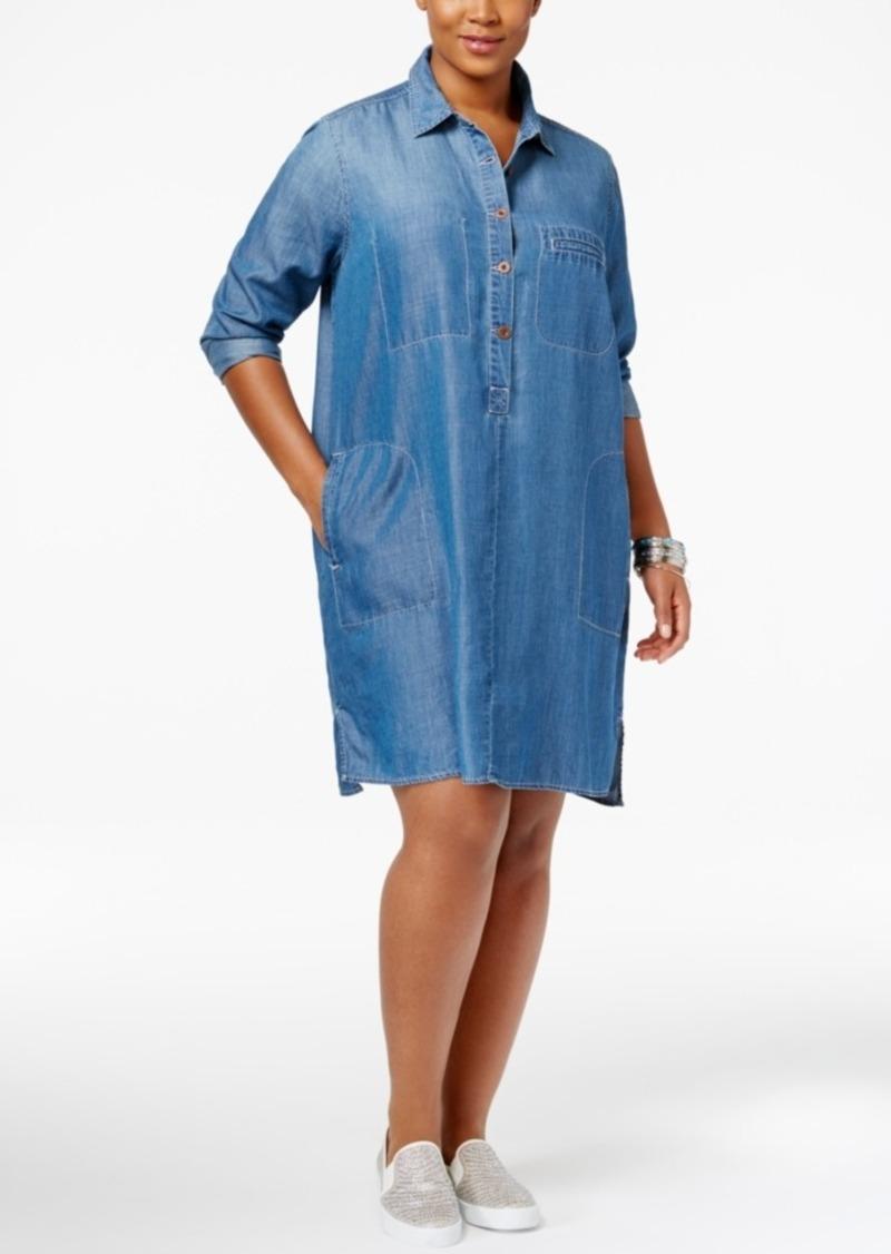 Jessica Simpson Jessica Simpson Trendy Plus Size Denim Shirtdress | Dresses