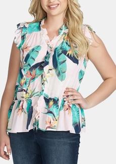 Jessica Simpson Trendy Plus Size Drey Ruffled Peplum Top