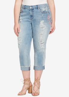 Jessica Simpson Trendy Plus Size Embroidered Boyfriend jeans