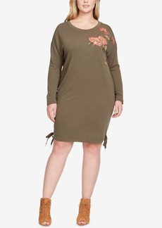 Jessica Simpson Trendy Plus Size Embroidered Lace-Up Sweater Dress
