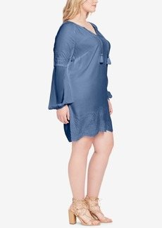 Jessica Simpson Trendy Plus Size Embroidered Shift Dress