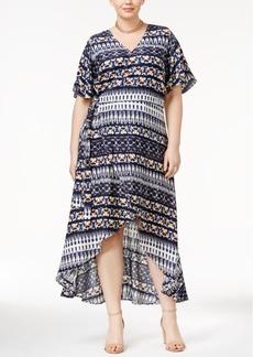 Jessica Simpson Trendy Plus Size Faux-Wrap Tie-Dyed Dress