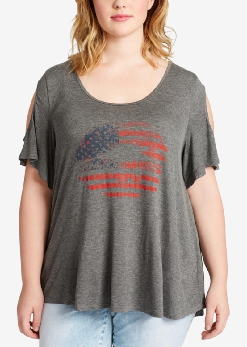 4a3da86ff4ac8e Jessica Simpson Jessica Simpson Trendy Plus Size Flag Graphic Cold ...