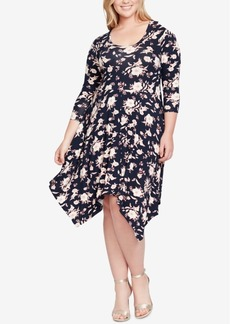 Jessica Simpson Trendy Plus Size Kaelin Handkerchief-Hem Dress