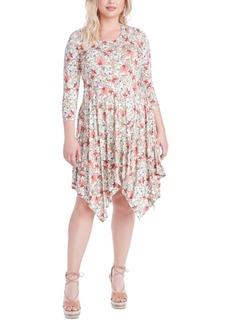 Jessica Simpson Trendy Plus Size Kaelin Printed Handkerchief-Hem Dress