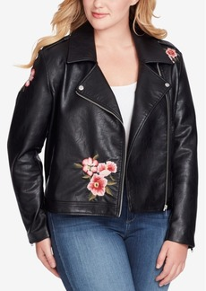 Jessica Simpson Trendy Plus Size Kenley Faux-Leather Moto Jacket