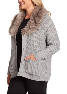 Jessica Simpson Trendy Plus Size Oaklyn Faux-Fur-Collar Cardigan