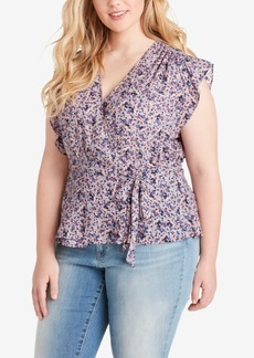 Jessica Simpson Trendy Plus Size Paisley Wrap Top