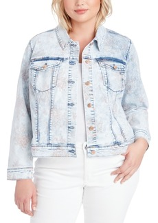 Jessica Simpson Trendy Plus Size Peony Printed Denim Jacket