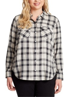 Jessica Simpson Trendy Plus Size Petunia Plaid Shirt