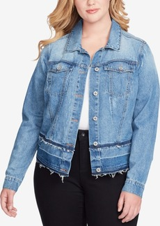 Jessica Simpson Trendy Plus Size Pixie Cotton Denim Jacket