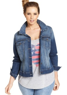Jessica Simpson Trendy Plus Size Pixie Jefford Wash Denim Jacket