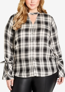 Jessica Simpson Trendy Plus Size Plaid Choker Blouse