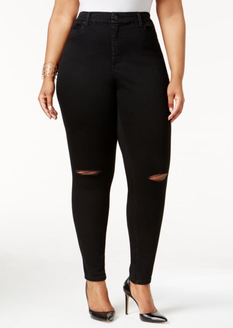 Jessica Simpson Trendy Plus Size Ripped Vintage Black Wash Skinny Jeans