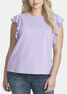 Jessica Simpson Trendy Plus Size Ruffle-Sleeve Top
