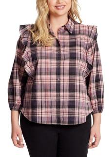 Jessica Simpson Trendy Plus Size Sadie Double-Ruffle Plaid Button-Front Top