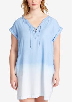 Jessica Simpson Trendy Plus Size Samantha Cotton Chambray Shift Dress