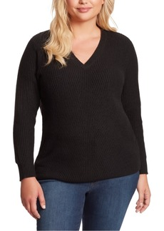 Jessica Simpson Trendy Plus Size Seana V-Neck Ribbed Tunic Sweater