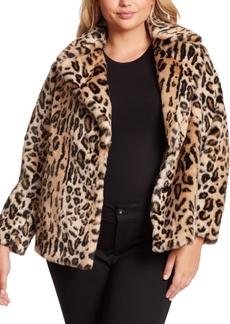 Jessica Simpson Trendy Plus Size Steele Faux-Fur Cocoon Coat
