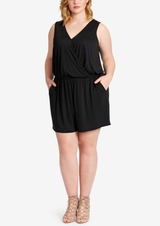 Jessica Simpson Trendy Plus Size Surplice Romper