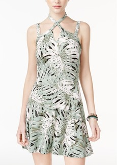 Jessica Simpson Tropical-Print Halter Dress