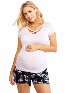 Jessica Simpson Under Belly Crochet Detail Maternity Shorts