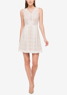 Jessica Simpson V-Neck Lace Fit & Flare Dress