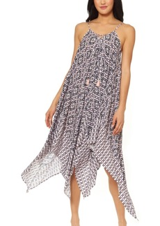 Jessica Simpson Venice Beach Printed Lace-Front Cover-Up Dress Women's Swimsuit