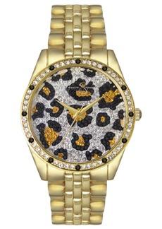 Jessica Simpson Women's Animal Print Pave Crystal Gold Tone Bracelet Watch 37mm