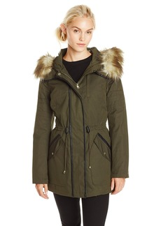 Jessica Simpson Women's Anorak Parka with Faux Fur Hood  X-Small