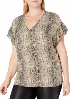 Jessica Simpson Women's Plus Size Ashby Ruffled Short Sleeve Blouse
