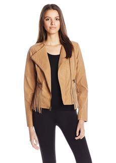 Jessica Simpson Women's Asymmetrical Zip Fringe Faux Suede Moto Jacket