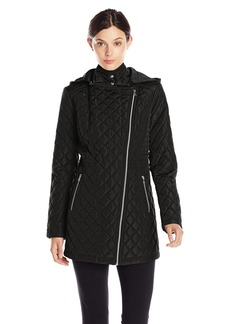 Jessica Simpson Women's Asymmetrical Zip Quilted Jacket with Hood