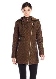 Jessica Simpson Women's Asymmetrical Zip Quilted Jacket with Hood  Small
