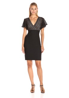 Jessica Simpson Women's Bandage Knit Lace Combo Dress