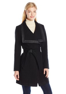 Jessica Simpson Women's Basketweave Wrap Coat  L