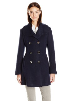 Jessica Simpson Women's Bell Sleeve Basketweave Wool Coat  L
