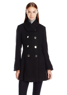 Jessica Simpson Women's Bell Sleeve Basketweave Wool Coat  S