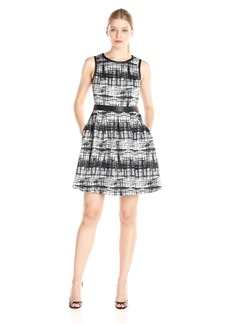 Jessica Simpson Women's Black and White Sleeves Fit and Flare Dress
