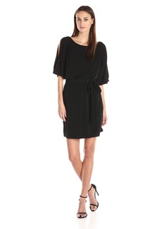 Jessica Simpson Women's Boat Neck Ity Dress with Self Sash  LG (Women's 12-14)
