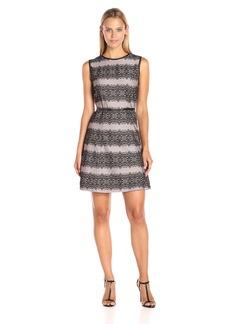 Jessica Simpson Women's Bonded Stripe Lace Dress
