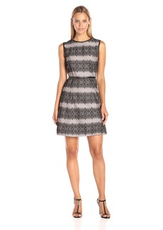 Jessica Simpson Women's Bonded Stripe Lace Dress