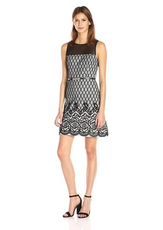 Jessica Simpson Women's Border Diamond Bonded Lace Dress