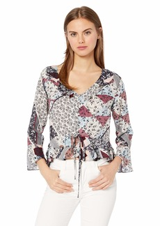 Jessica Simpson Women's Bronwyn Bell Sleeve Printed Blouse Antler-Country Quilt
